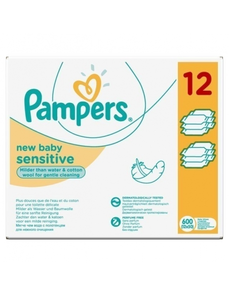 Pampers Baby Wipes New Baby Sensitive 12 x 50 per pack